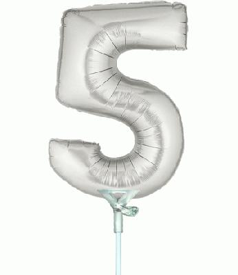 Megaloon Jrs 14inch Number 5 Silver packaged - Foil Balloons