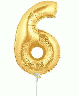 Megaloon Jrs 14inch Number 6 Gold packaged - Foil Balloons