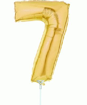 Megaloon Jrs 14inch Number 7 Gold packaged - Foil Balloons