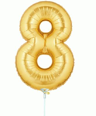 Megaloon Jrs 14inch Number 8 Gold packaged - Foil Balloons