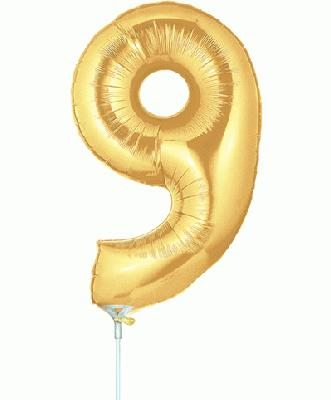 Megaloon Jrs 14inch Number 9 Gold packaged - Foil Balloons