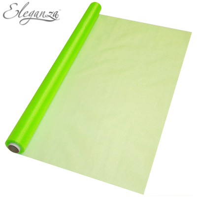Eleganza Sheer Organza Lime Green 70cm x 10m - Organza / Fabric