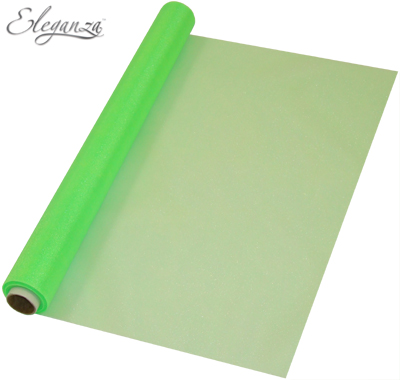 Eleganza Soft Sheer Organza 47cm x 10m Lime Green - Organza / Fabric