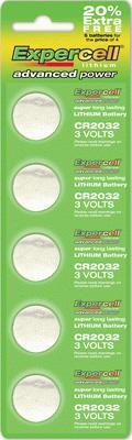 Expercell CR2032 Batteries x 100pcs (20 strips of 5) - L.E.D Lights