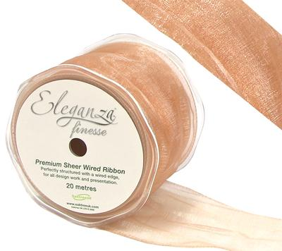 Eleganza Finesse Wired Ribbon 70mm x20m Rose Gold No.87 - Ribbons