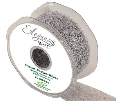 Eleganza Web Ribbon 38mm x 20m Metallic Silver No.66 - Ribbons