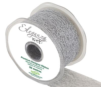 Eleganza Web Ribbon 50mm x 20m Metallic Silver No.66 - Ribbons