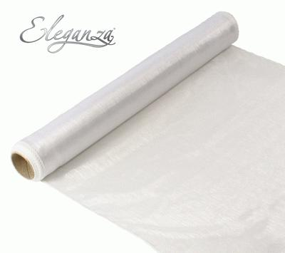 Woven Edge Organza 40cm x 9m White - Organza / Fabric
