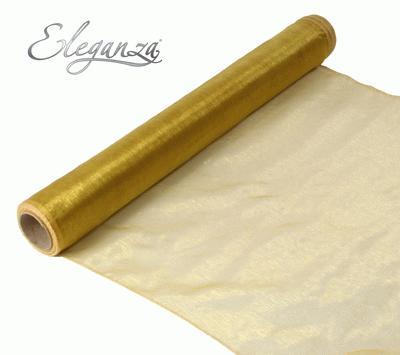 Woven Edge Organza 40cm x 9m Gold - Organza / Fabric