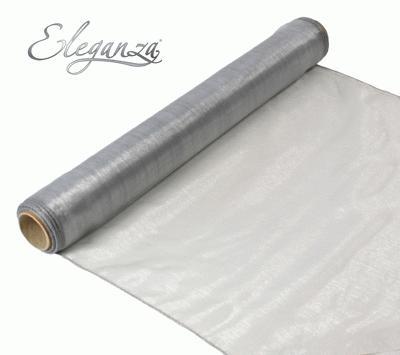 Woven Edge Organza 40cm x 9m Silver - Organza / Fabric