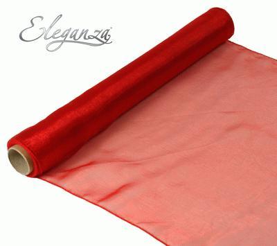 Woven Edge Organza 40cm x 9m Red - Organza / Fabric