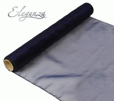 Woven Edge Organza 40cm x 9m Navy Blue - Organza / Fabric