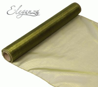 Woven Edge Organza 40cm x 9m Basil - Organza / Fabric