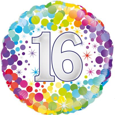 Oaktree 18inch 16th Colourful Confetti Birthday - Foil Balloons