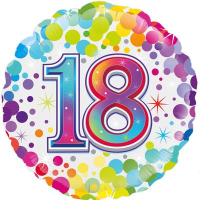 Oaktree 18inch 18th Colourful Confetti Birthday - Foil Balloons