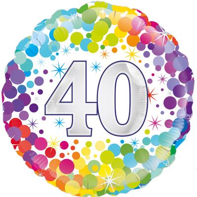 Oaktree 40th Colourful Confetti Birthday - Foil Balloons