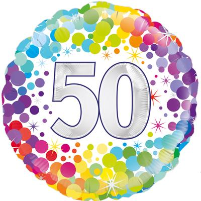 Oaktree 50th Colourful Confetti Birthday - Foil Balloons