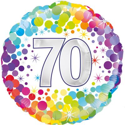 Oaktree 70th Colourful Confetti Birthday - Foil Balloons