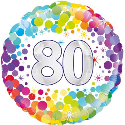 Oaktree 80th Colourful Confetti Birthday - Foil Balloons