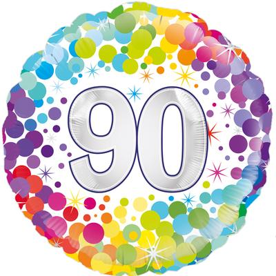 Oaktree 90th Colourful Confetti Birthday - Foil Balloons