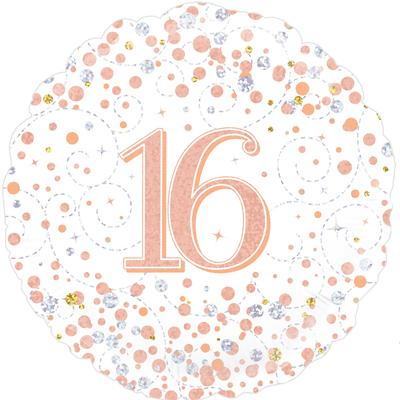 Oaktree 16th Sparkling Fizz Birthday White & Rose Gold Holographic - Foil Balloons
