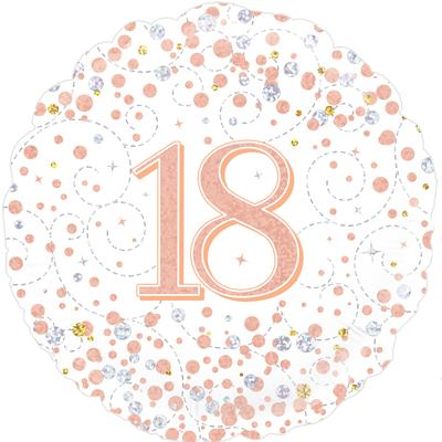 Oaktree 18th Sparkling Fizz Birthday White & Rose Gold Holographic - Foil Balloons