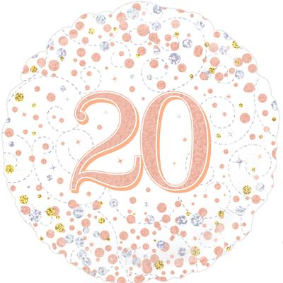 Oaktree 20th Sparkling Fizz Birthday White & Rose Gold Holographic - Foil Balloons