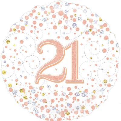 Oaktree 21st Sparkling Fizz Birthday White & Rose Gold Holographic - Foil Balloons