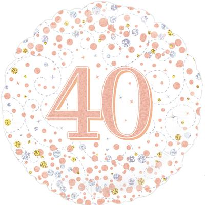Oaktree 40th Sparkling Fizz Birthday White & Rose Gold Holographic - Foil Balloons