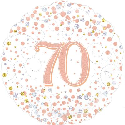 Oaktree 70th Sparkling Fizz Birthday White & Rose Gold Holographic - Foil Balloons