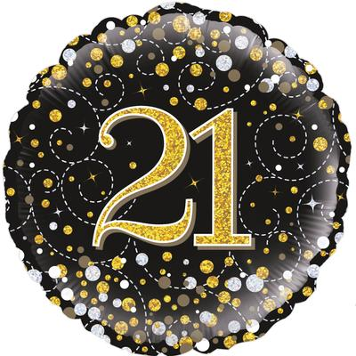 Oaktree 18inch 21st Sparkling Fizz Birthday Black & Gold Holographic - Foil Balloons
