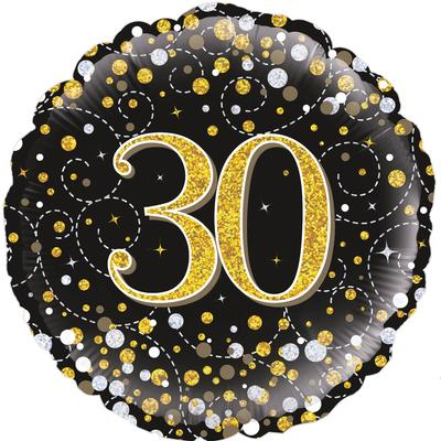 Oaktree 18inch 30th Sparkling Fizz Birthday Black & Gold Holographic - Foil Balloons
