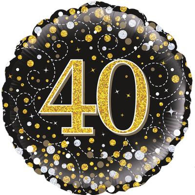 Oaktree 18inch 40th Sparkling Fizz Birthday Black & Gold Holographic - Foil Balloons