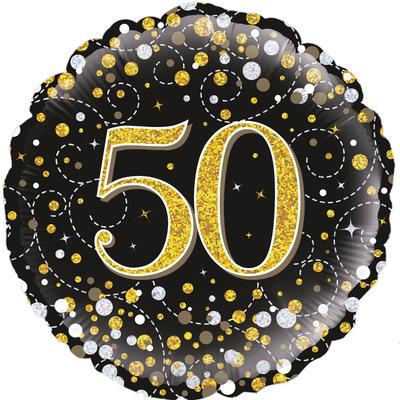 Oaktree 18inch 50th Sparkling Fizz Birthday Black & Gold Holographic - Foil Balloons