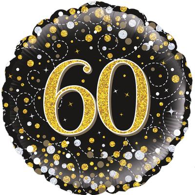 Oaktree 18inch 60th Sparkling Fizz Birthday Black & Gold Holographic - Foil Balloons