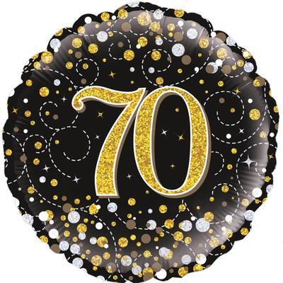 Oaktree 18inch 70th Sparkling Fizz Birthday Black & Gold Holographic - Foil Balloons