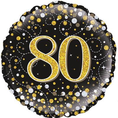 Oaktree 18inch 80th Sparkling Fizz Birthday Black & Gold Holographic - Foil Balloons