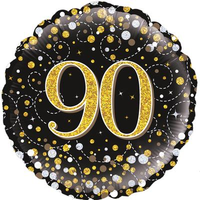 Oaktree 18inch 90th Sparkling Fizz Birthday Black & Gold Holographic - Foil Balloons