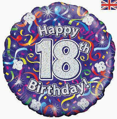 18th Birthday Streamers Holographic - Foil Balloons