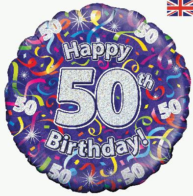 Oaktree Happy 50th Birthday Streamers Holographic - Foil Balloons