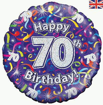 Oaktree Happy 70th Birthday Streamers Holographic - Foil Balloons