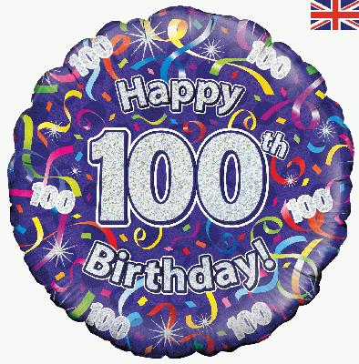 Oaktree Happy 100th Birthday Streamers Holographic - Foil Balloons