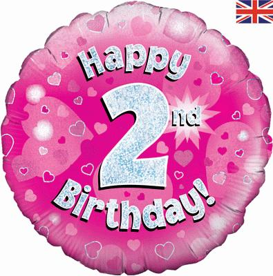 Oaktree Happy 2nd Birthday Pink Holographic - Foil Balloons