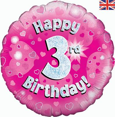 Oaktree Happy 3rd Birthday Pink Holographic - Foil Balloons