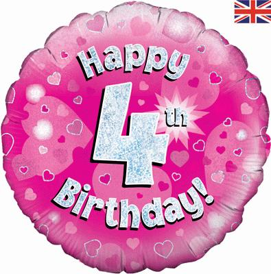 Oaktree Happy 4th Birthday Pink Holographic - Foil Balloons