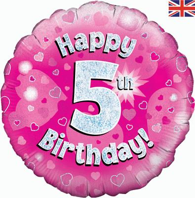 Oaktree Happy 5th Birthday Pink Holographic - Foil Balloons