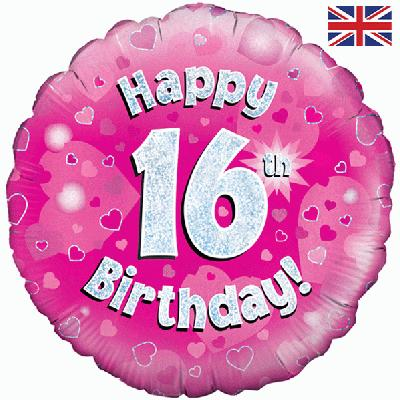 Oaktree Happy 16th Birthday Pink Holographic - Foil Balloons