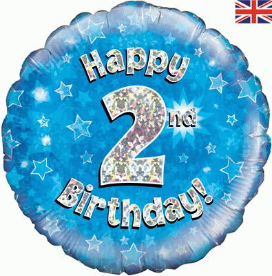 Oaktree Happy 2nd Birthday Blue Holographic - Foil Balloons