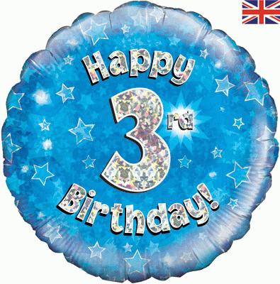 Oaktree Happy 3rd Birthday Blue Holographic - Foil Balloons