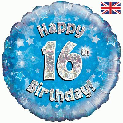 Oaktree Happy 16th Birthday Blue Holographic - Foil Balloons